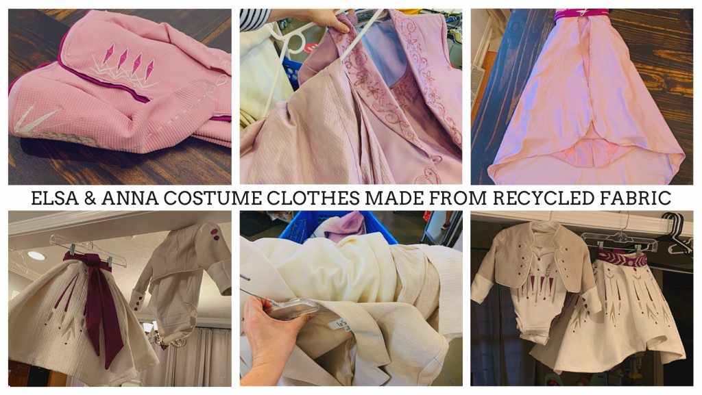 Upcycling clothes for DIY Elsa and Anna Costumes.