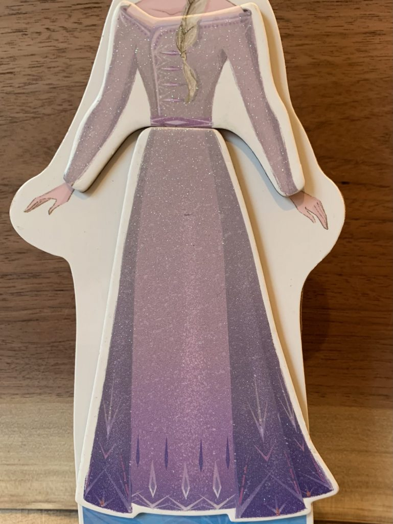 Showing a depiction of Elsa's outfit from the movie