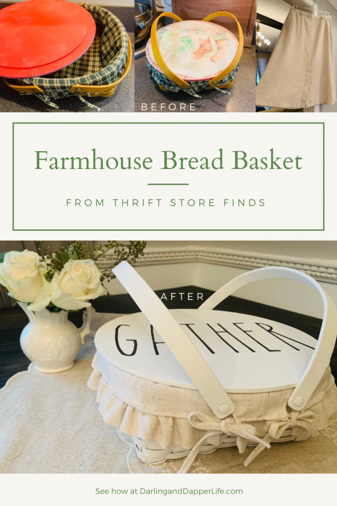 """Flipping thrift store items: showing original goodwill basket, lid, liner, and linen skirt before as well as finished bread basket painted white, with handmade linen liner, and a lid that reads, """"GATHER"""", with title, """"Farmhouse Bread Basket"""" on it."""